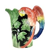 Fitz And Floyd Macaw Majolica Parrot Hand Painted Pitcher 1 1/2 Quarts 1986