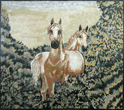 Art Animals Brown Horses Forest 67x59 Nature Marble Mosaic An562