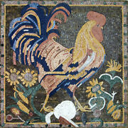 Blue Colorful Rooster Sun Flower 31x31 Mural Marble Mosaic An566