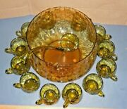 Murano Italy 1960and039s Hand Blown Glass Green Punch Bowl Set 12 Cups Ladle Marked