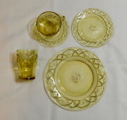 27- Pcs Of Federal Rosemary Dutch Rose Amber Depression Glass - Unused