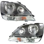 Headlights Headlamps Left And Right Pair Set New For 99-00 Lexus Rx300