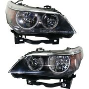 Halogen Headlight Set For 2004-2007 Bmw 530i Left And Right W/ Bulbs Pair