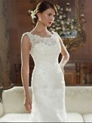 Wedding Gown And Veil, Ivory Lace, Antique Gold Underlay, Size 18, Clean And Boxed
