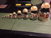 Hand Painted 10 Pce Russian Matryoshka Nesting Dolls 9.25 Made In Russia Signed