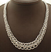 18 Graduated Double Row Curb Cross Railroad Chain Necklace Real 14k White Gold