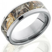 Titanium 8mm Flat Band With Beveled Edges And 5mm Realtree Max4 Camo Inlay
