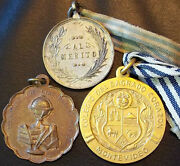Education Lot 3 Antique Award Medals Literature Science Fine Arts And Sacred Heart