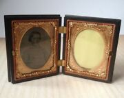 Antique Constitution And Union Waterbury Picture Frame Tintype Gutta Percha Box