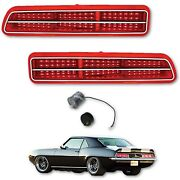 69 Chevy Camaro Red Led Right Left Tail Brake Light Lens And Trim W/ Flasher Pair