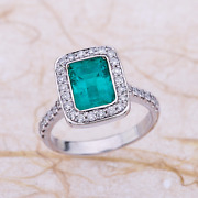 2.05ctw Natural Green Emerald Diamond Halo Engagement Ring In 14k White Gold
