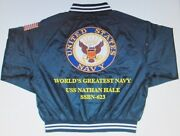 Uss Nathan Hale Ssbn-623 Navy Anchor Embroidered 2-sided Satin Jacket