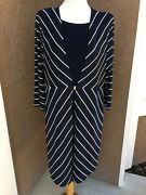 New Chicos Travelers Striped Duster Jacket India Ink Navy Blue White 3 Xl 16 Nwt