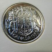 1957 50 Cents Canada Pl Canadian .800 Silver Fifty Half Dollar Proof Like