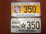 Wisconsin State Patrol License Plate 350 Matching Set Low Number Near Mint