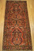 2and039x5and039 Sarouk Genuine Antique Handmade Floral Wool Woven Rug Ca.1880