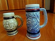 Lot Of 2 Avon 1982 - Airplane - Mini And Ships Beer Steins - Handcrafted Brazil