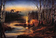 Twilight Glow By Terry Redlin-s/n-limited Edition-mallards, Campers, Tent, Fire