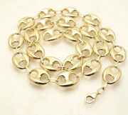 14mm Puffed Mariner Anchor Link Chain Necklace Real 10k Yellow Gold