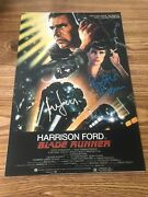 Harrison Ford And Rutger Hauer Autographed 12x18 Photo Blade Runner Bas Loa