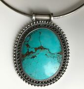 Native American Turquoise And Sterling Silver Pendant Choker Necklace, C1960