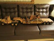 Toy Wood Tractor W/ Low Boy Trailer And Bulldozer