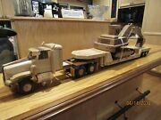 Toy Wooden Tractor With Low Boy Trailer And Excavator