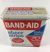 Band-aid Sheer Strips Vintage Tin Box Package Bandages Advertising First Aid