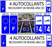 4 Stickers License Plate Auto Tuning Doming 3d Resin Reunion 974+ F