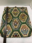 Art Deco Carpet Bag Tapestry Lg 11andrdquox10andrdquo Purse Bead Detail Front Leaf Brass Frame