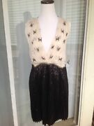 New Free People 390 Size 10 Black White Lace Open Back Summer Rayon Dress