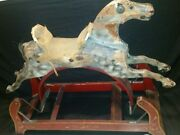 Rare Antique 1800and039s P.j. Marqua And Co. Original Wooden Toy Hobby Horse