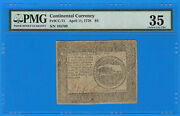 April 11 1778 4 Four Dollar Us Continental Currency Note Cc-71 Pmg 35 Very Fine
