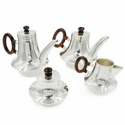 Italian Fine Solid Silver Tea And Coffee Set With Oval Wooden Handles 4 Pieces