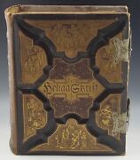 1889 Family Bible Swedish Language Den Heliga Skrift With Metal Buckles Vg Cond.