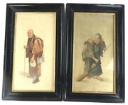 Pair Antique Oriental Water Colour Paintings On Fabric Figure Chinese Japanese
