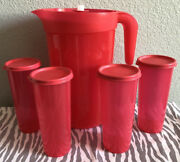 Tupperware One Gallon Pitcher With Infuser Insert And Set Of 4 16oz Tumblers New
