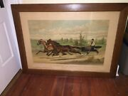 Currier And Ives Print Celebrated Boston Team Mill Boy And Blondine 1882 Large