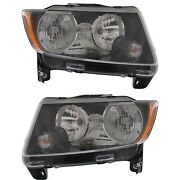 Halogen Headlight Set For 2013-2017 Jeep Compass Left And Right W/ Bulbs Pair Capa