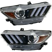 Headlight For 2015-2017 Ford Mustang Pair Driver And Passenger Side