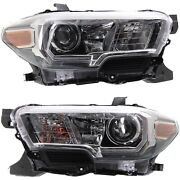 Headlight Set For 2016-2018 Toyota Tacoma Left And Right Black Housing 2pc