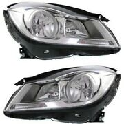 Headlight Set For 2012-2014 Mercedes Benz C250 Left And Right Chrome Housing 2pc