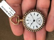 Omega 14k Gold And Seed Pearl Pocket Watch