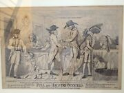 Rare Antique 1786 Print, Full And Half-pay Officers Satire By Uncle Toby
