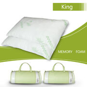 2 Pcs Cooling Shredded Memory Foam Pillow Bamboo Ultra Luxury Cover King Size