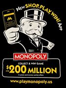 Monopoly Collect And Win Games New Shop Play Win 200 Million Adult Rare T-shirt M
