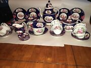 Lc4 Staffordshire Porcelain Teaset Transfer With Luster Accents 1840 Child Bird