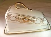 Nippon Hand Painted Nip104 Gold Moriage Cheese Or Butter Dish And Cover Circa 1910