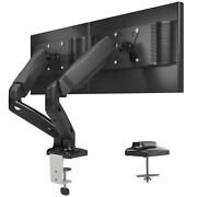 Full Motion Gas Spring Dual Twin Arms Desk Mount Stand For 13-32 Lcd Monitors