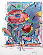 Peter Max - Garden Flower - Original Lithograph On Paper Mint Perfect Condition